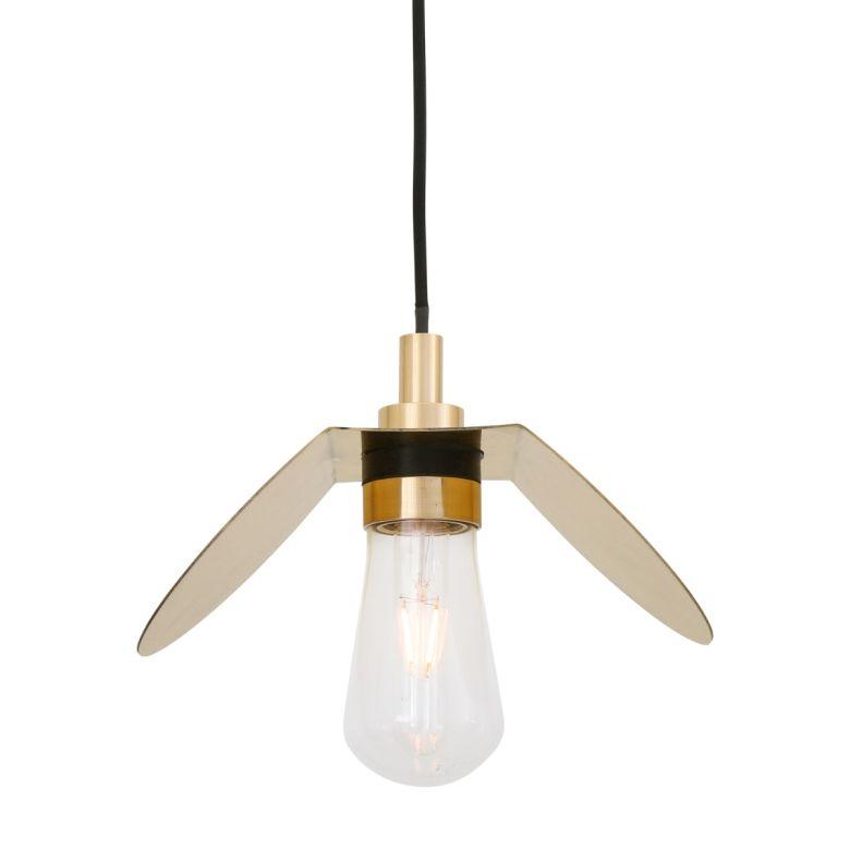 Hali Brass / Glass Bathroom Pendant Light IP65