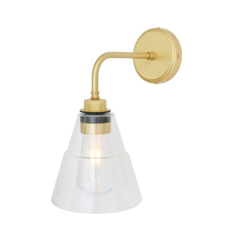Kairi Modern Brass / Glass Bathroom Wall Light IP65