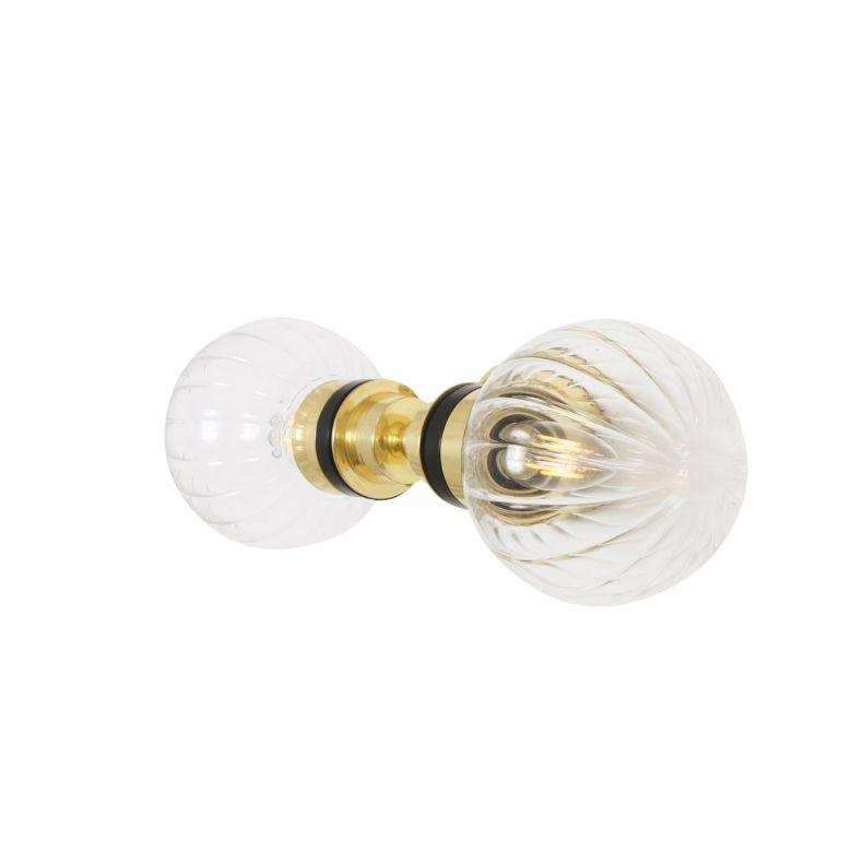 Poole Double Prismatic Glass Globe Bathroom Wall Light IP65
