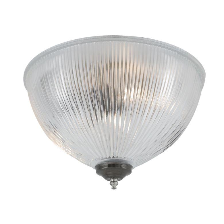 Moroni Prismatic Glass Dome Flush Ceiling Light 30cm, Antique Silver