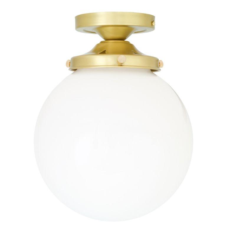 Yerevan Mid-Century Opal Globe Ceiling Light 20cm Satin Brass