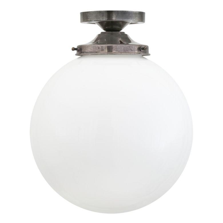 Yerevan Mid-Century Opal Globe Ceiling Light 25cm, Antique Silver
