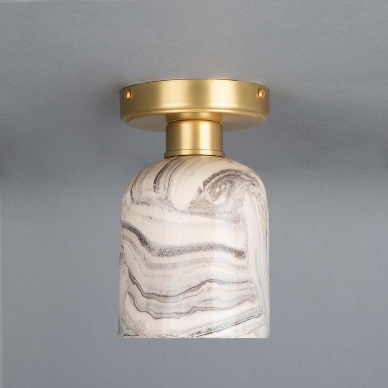 Osier Marbled Ceramic Flush Ceiling Light 11.5cm, Satin Brass