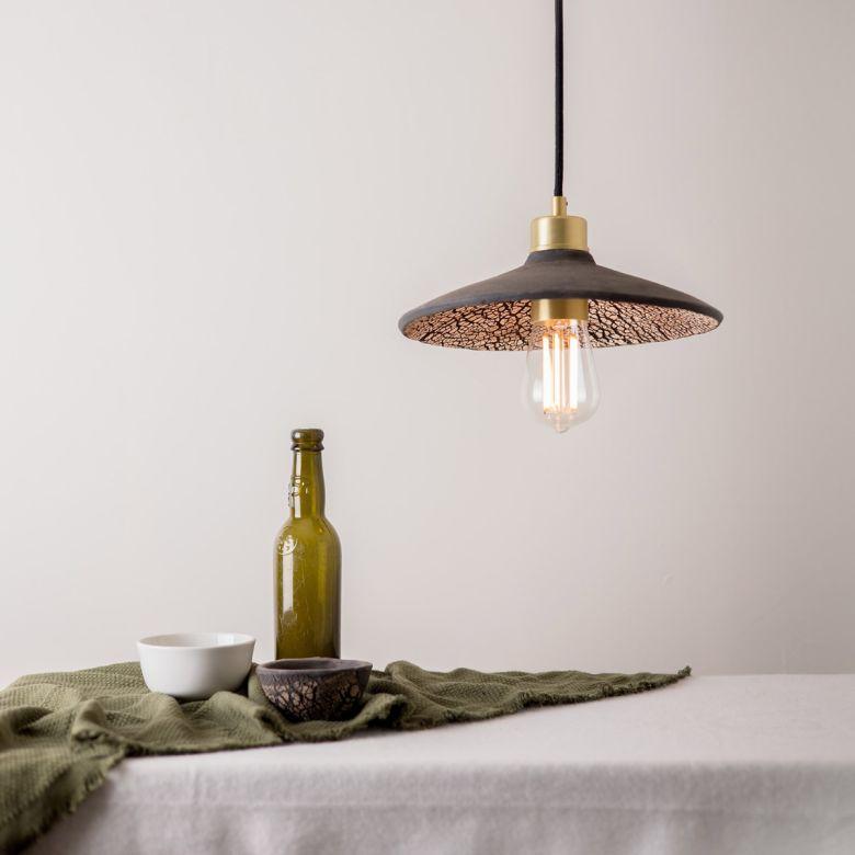 Pyrus Organic Ceramic Pendant Light 28cm, Black Clay, Satin Brass