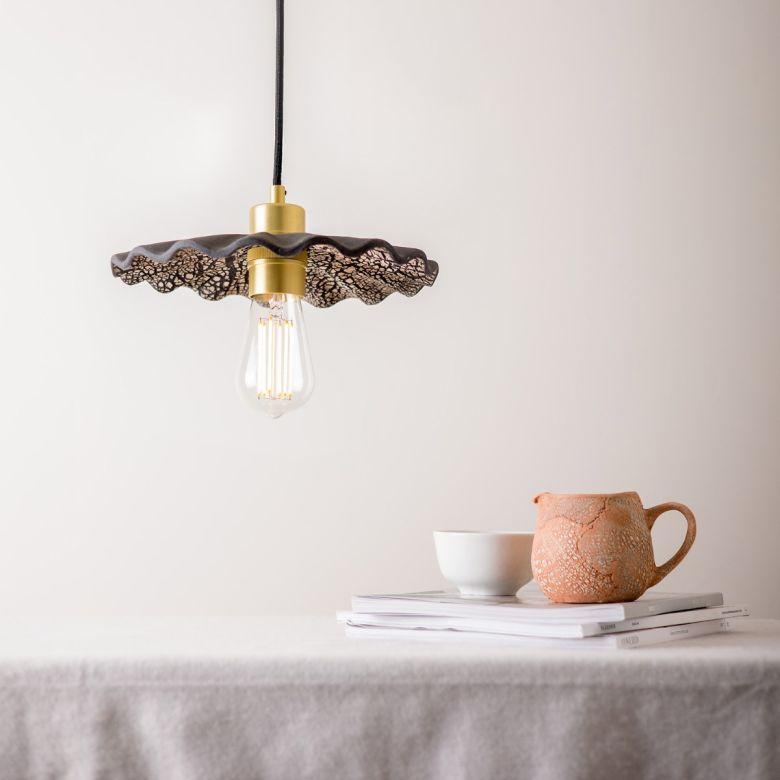 Kapok Organic Ceramic Pendant Light 27cm, Black Clay