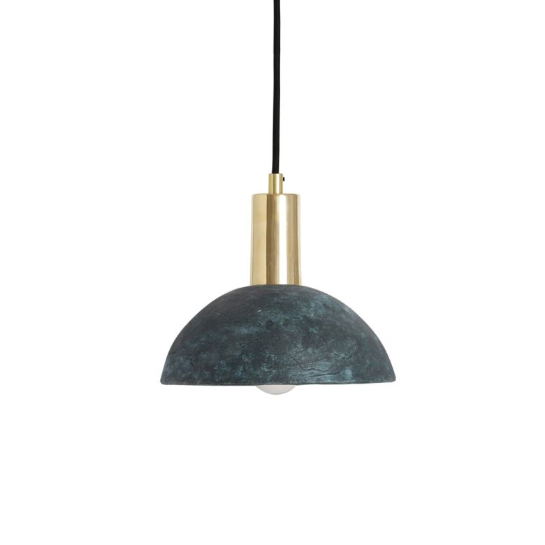 Kauri Organic Ceramic Dome Pendant Light 20cm, Blue Earth