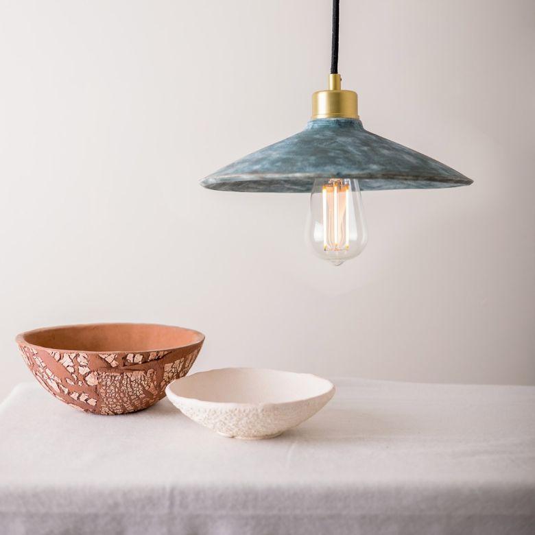 Pyrus Organic Ceramic Pendant Light 28cm, Blue Earth