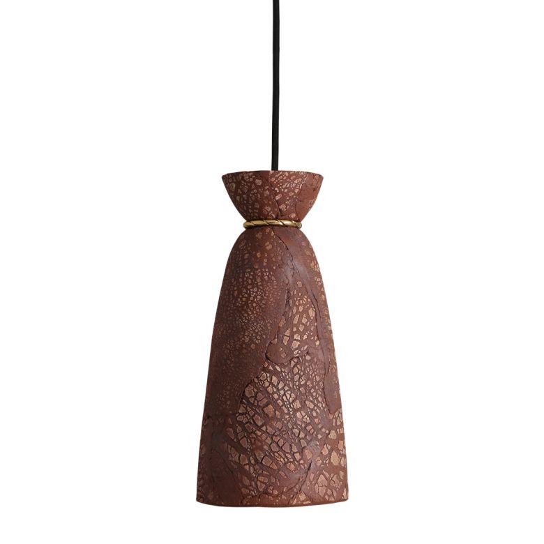 Pando Organic Ceramic Pendant Light 14cm, Red Iron