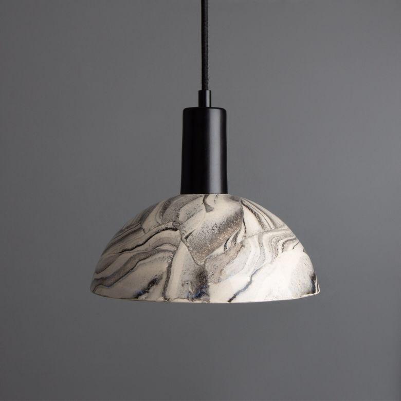 Kauri Marbled Ceramic Dome Pendant Light 20cm, Matte Black
