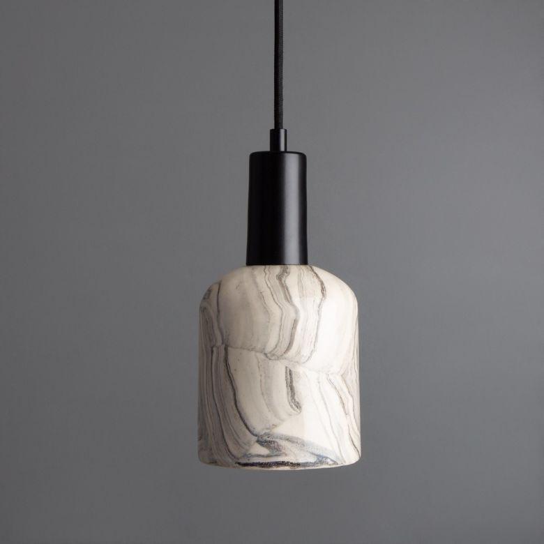 Osier Marbled Ceramic Pendant Light 11.5cm, Matte Black