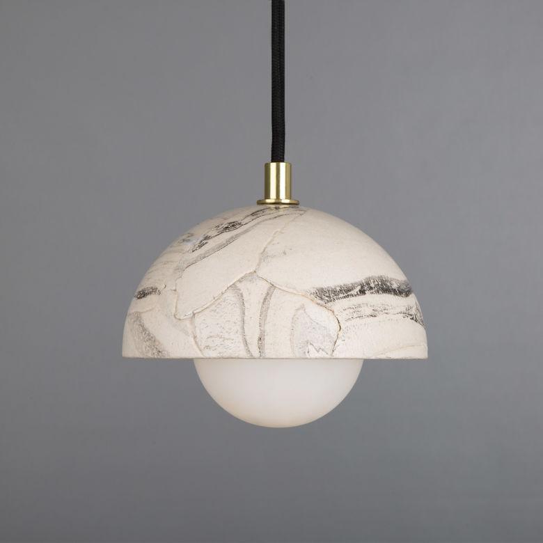 Ferox Small Marbled Ceramic Dome Pendant Light 14cm