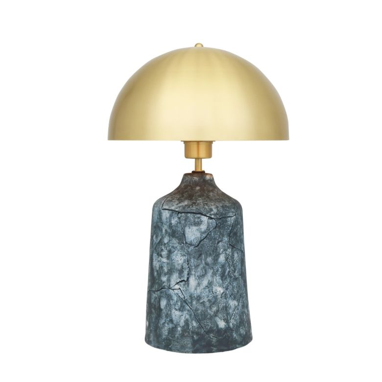 Cassia Tall Ceramic Table Lamp with Brass Dome Shade, Blue Earth