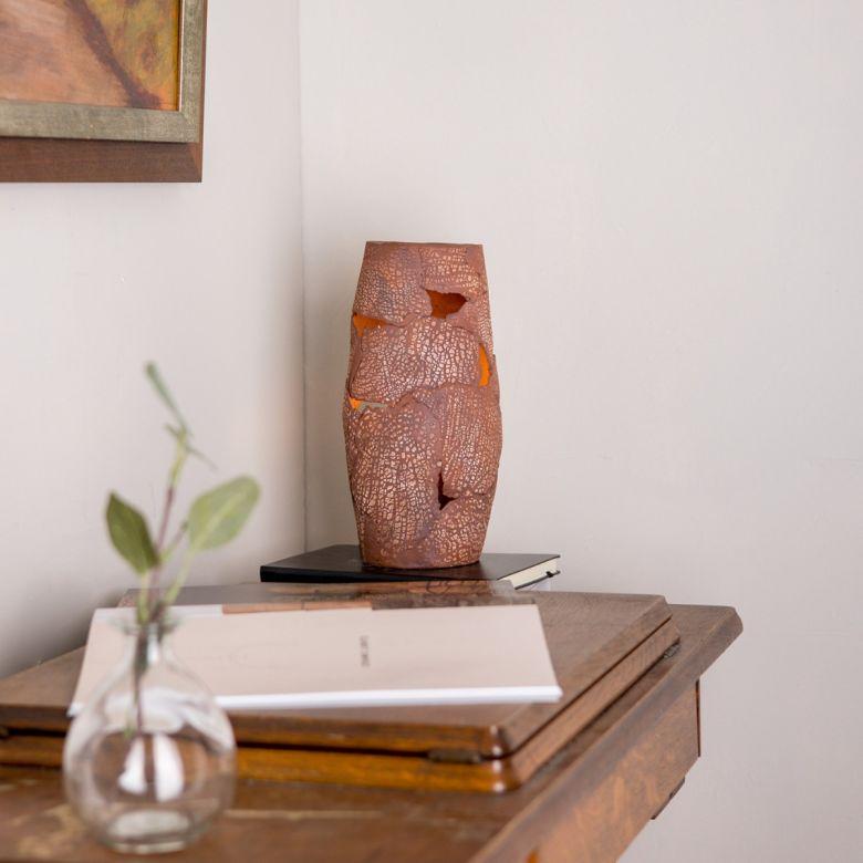 Carya Ceramic Table Lamp Rustic Luminaire, Red Iron
