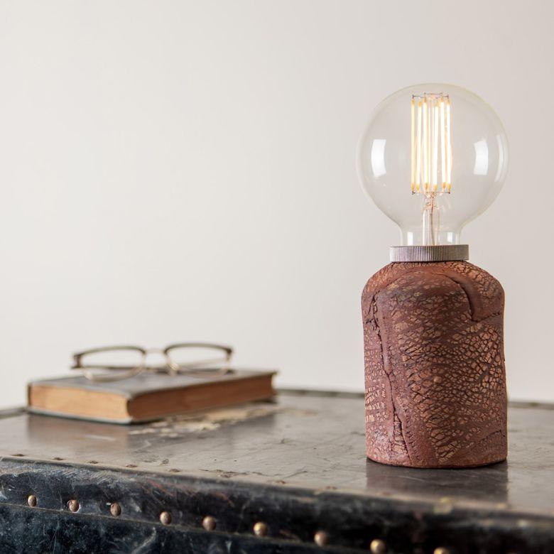 Bixa Small Ceramic Table Lamp, Red Iron
