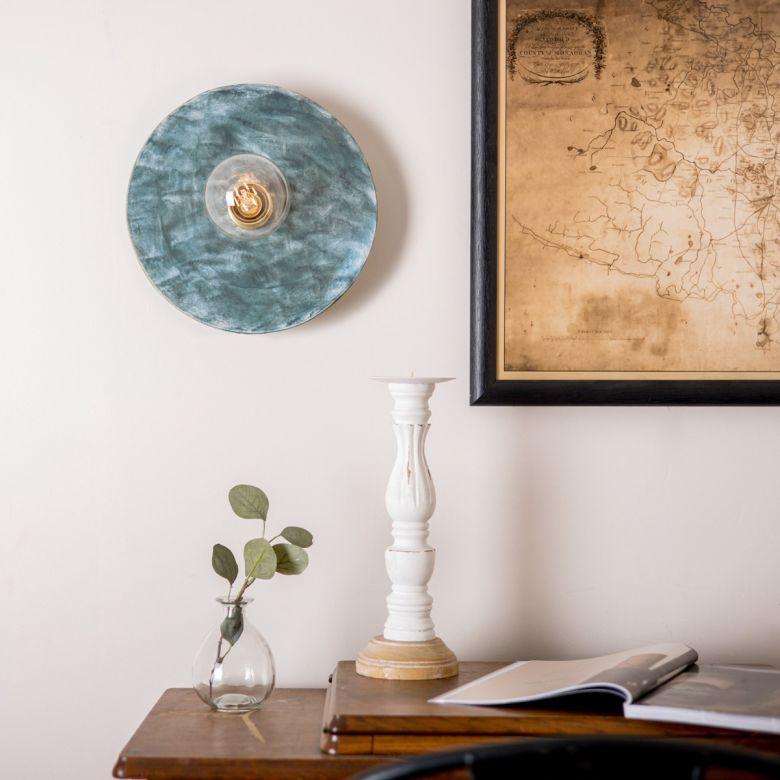 Bog Oak Organic Ceramic Disc Wall Light, Blue Earth