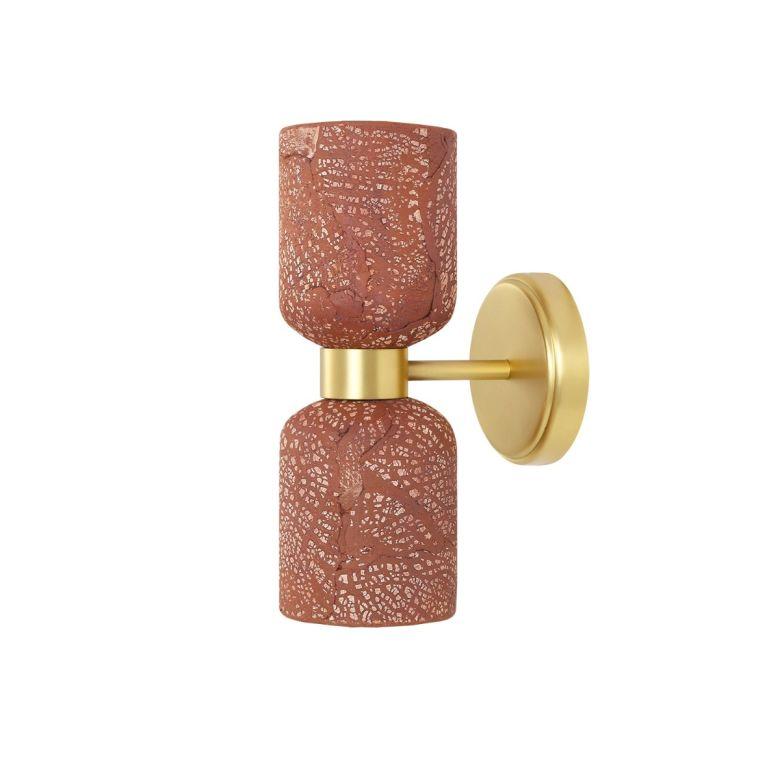 Sakura Double Ceramic and Brass Wall Light, Red Iron