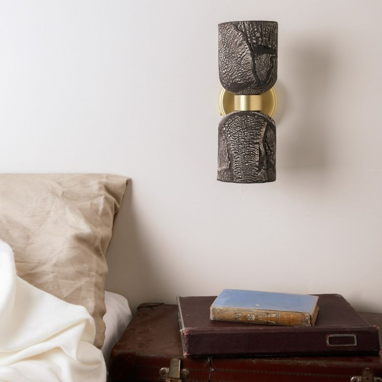 Sakura Double Ceramic and Brass Wall Light, Black Clay