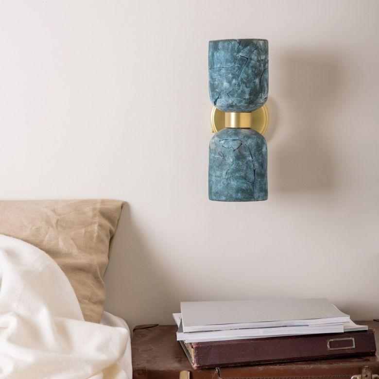 Sakura Double Ceramic and Brass Wall Light, Blue Earth