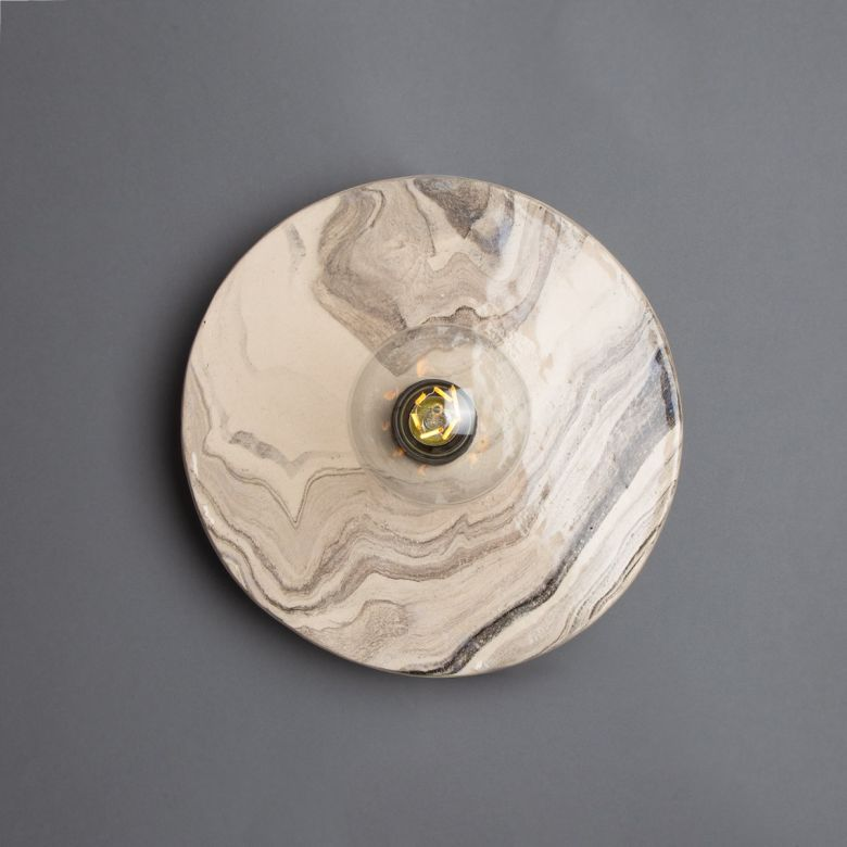 Bog Oak Marbled Ceramic Disc Wall Light, Powder-Coated Matte Black