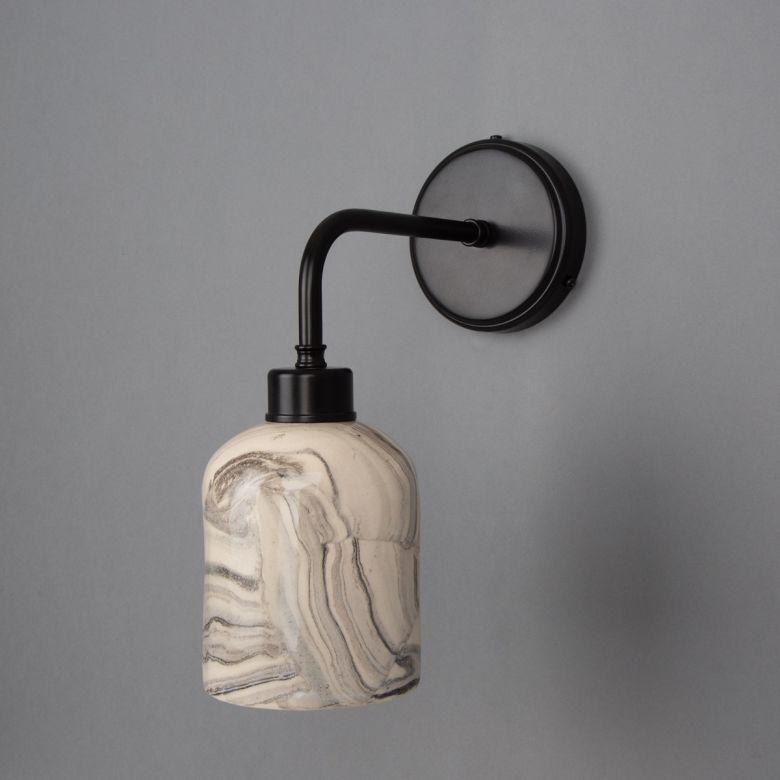 Osier Marbled Ceramic Wall Light, Powder-Coated Matte Black