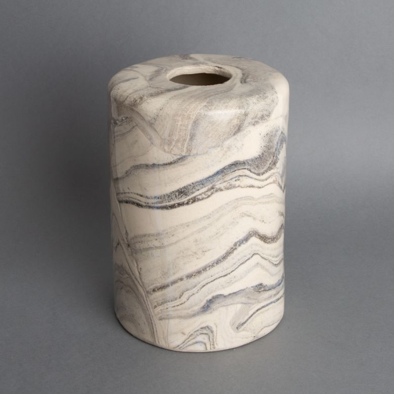 Senna White and Black Marble Ceramic Cylinder Lamp Shade 12cm