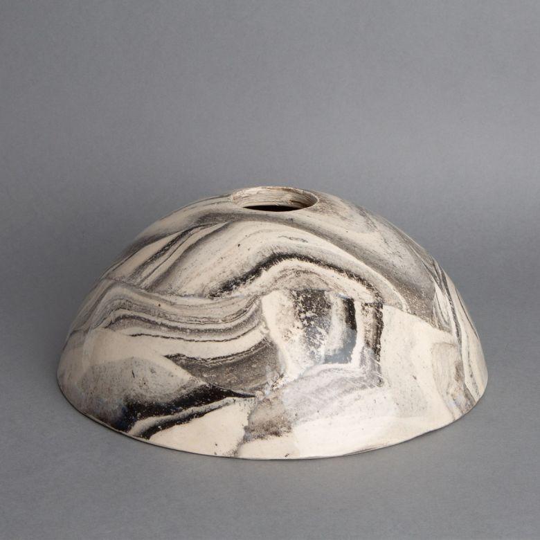 Kauri White and Black Marble Ceramic Dome Lamp Shade 20cm