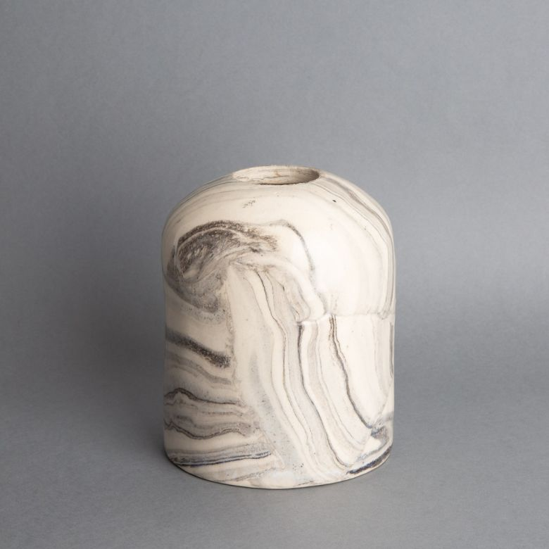 Osier White and Black Marble Ceramic Cylinder Lamp Shade 11.5cm