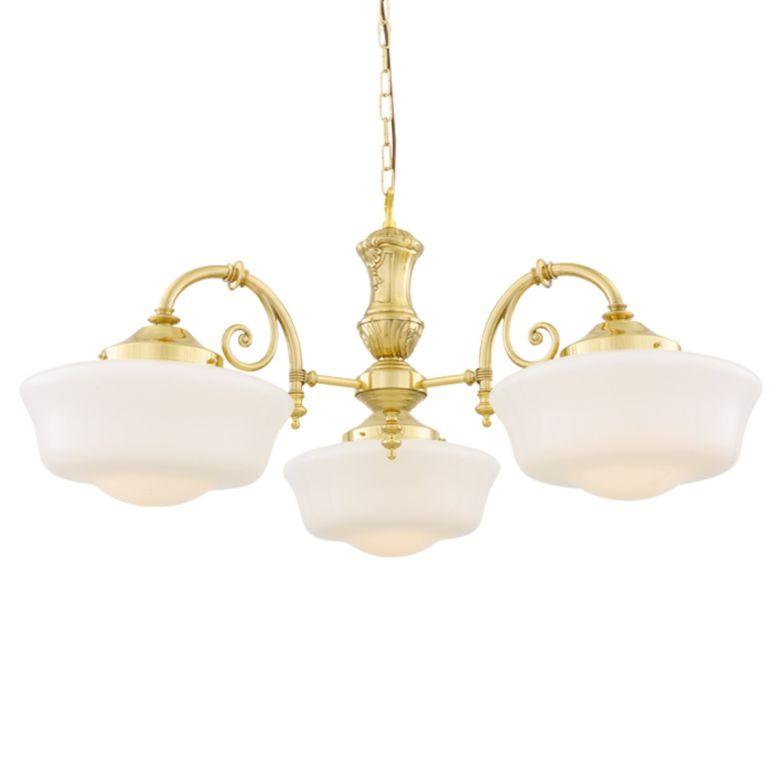 Clones three-arm 1920's schoolhouse chandelier, Polished Brass,