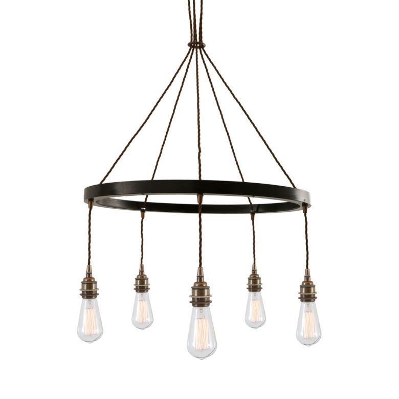 Lome One-Tier Vintage Ring Chandelier, Five Light