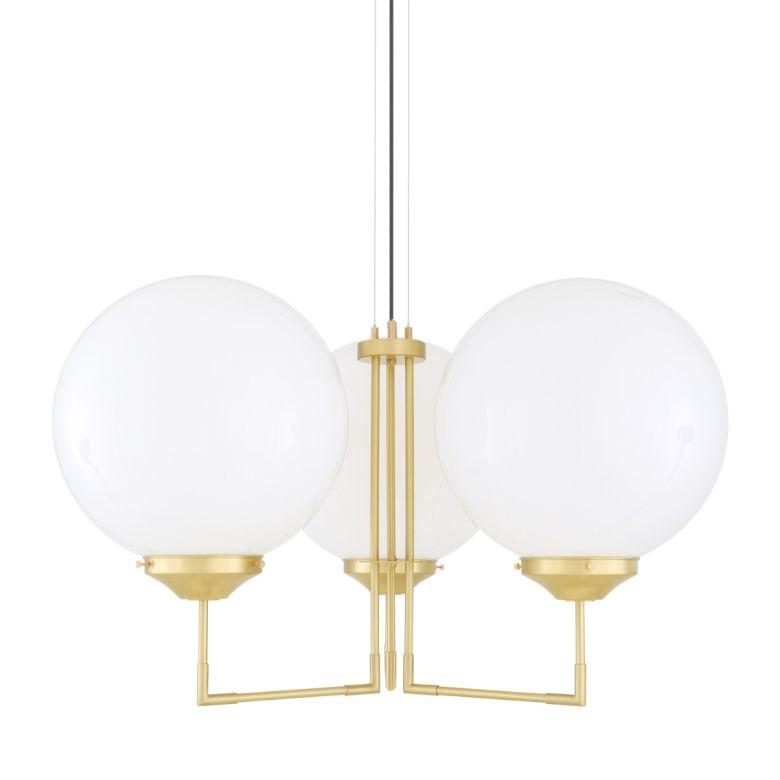 Bellavary Modern Glass Globe Chandelier, Three-Arm