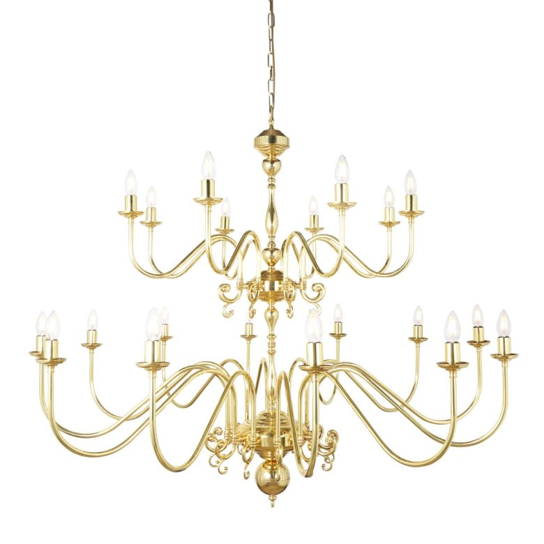 Flemish Candle-Style Brass Two-Tier Chandelier, 20-Light