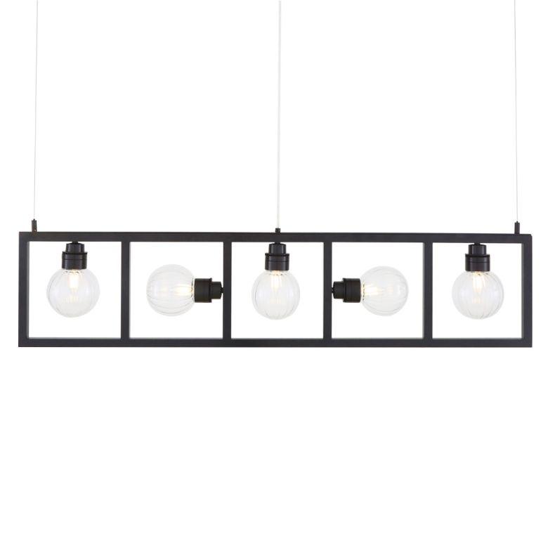 Cuba Linear Box Chandelier with Five Prismatic Glass Globe Lights