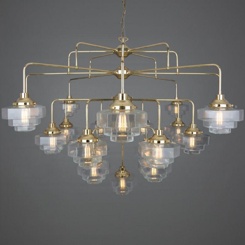 Siena Art Deco Four-Tier Brass Chandelier, 21-Light