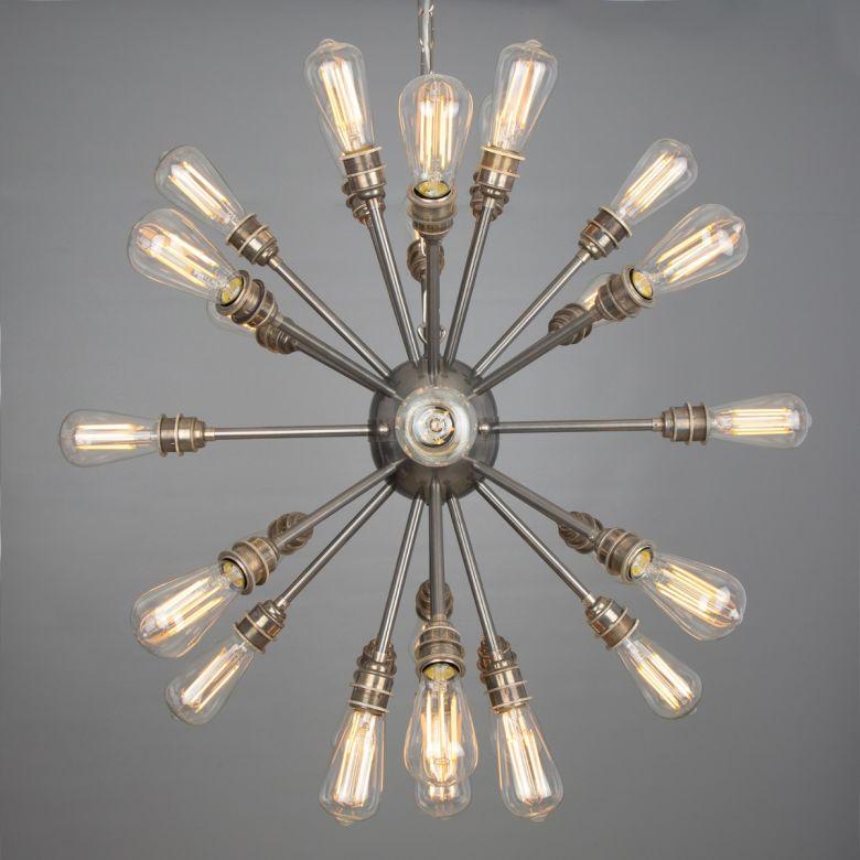 Sapporo Brass Sputnik Chandelier, 29-Arm, Antique Silver