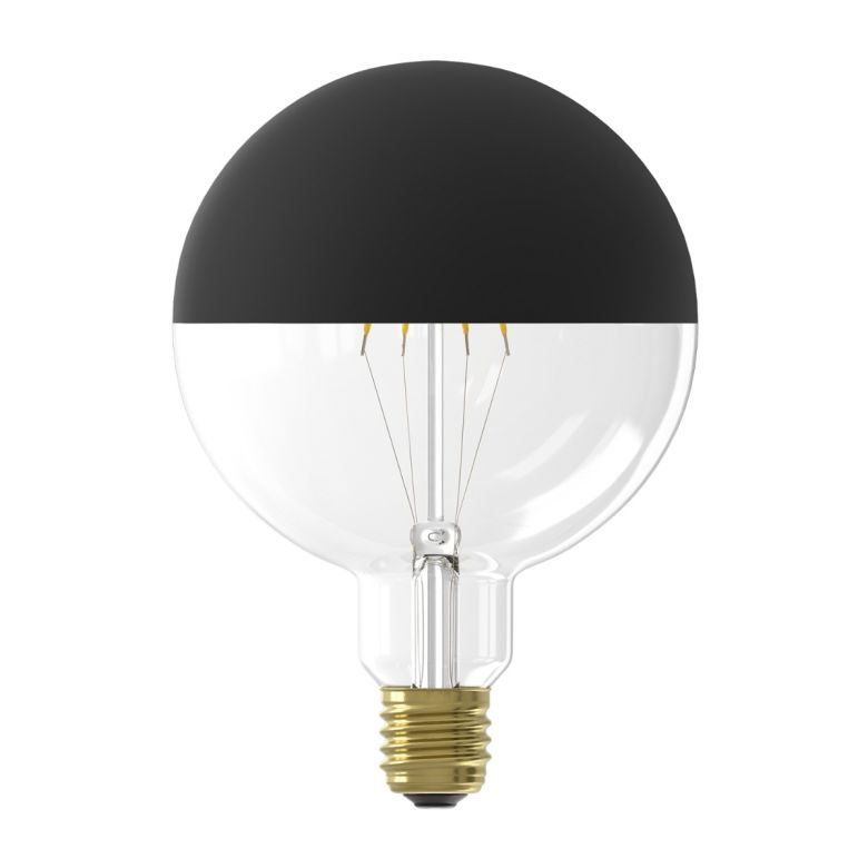 LED Filament Mirror Top Light Bulb Black Dimmable E27 4W 12.5cm