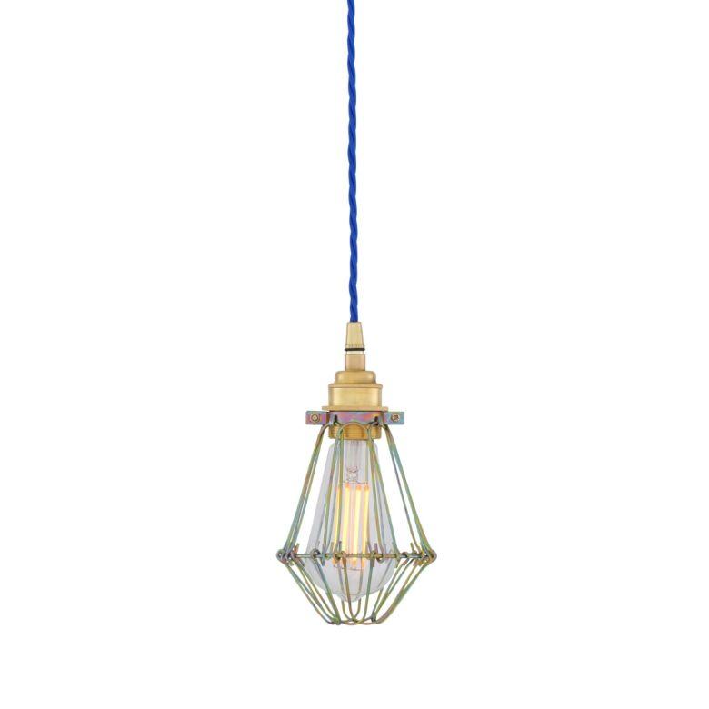 Praia Gold Industrial Bulb Cage Pendant Light, Blue Cable