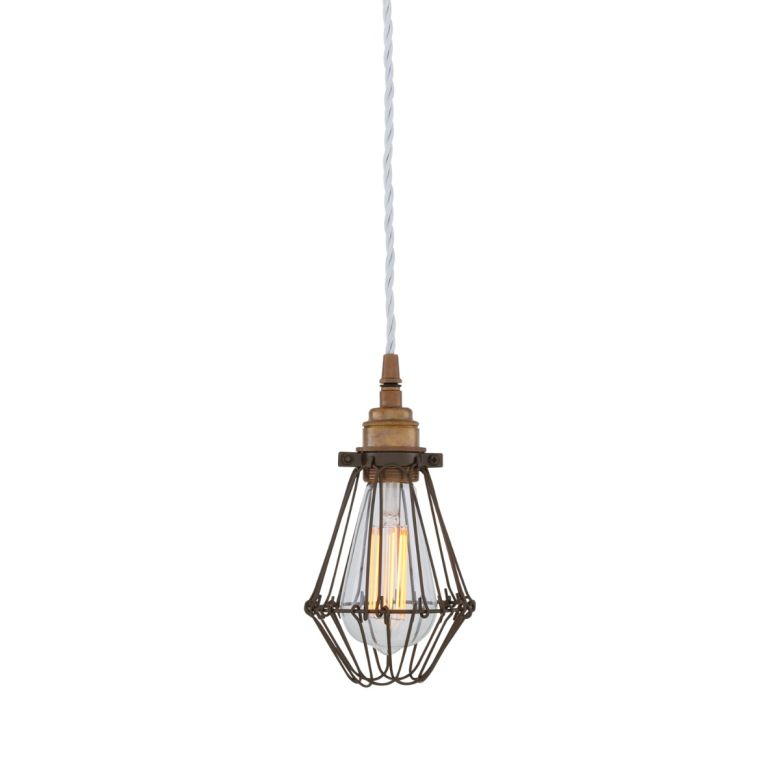 Praia Bronze Industrial Bulb Cage Pendant Light, Ivory Cable