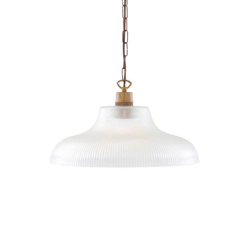 London Prismatic Railway Glass Pendant Light 40cm, Antique Brass