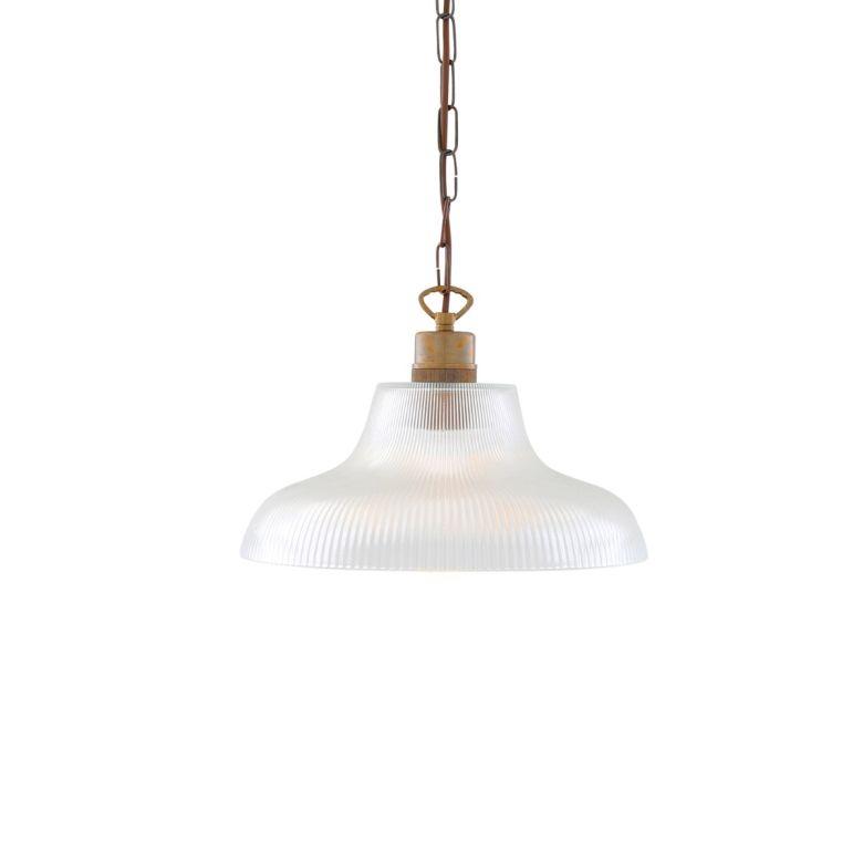 London Prismatic Railway Glass Pendant Light 30cm, Antique Brass