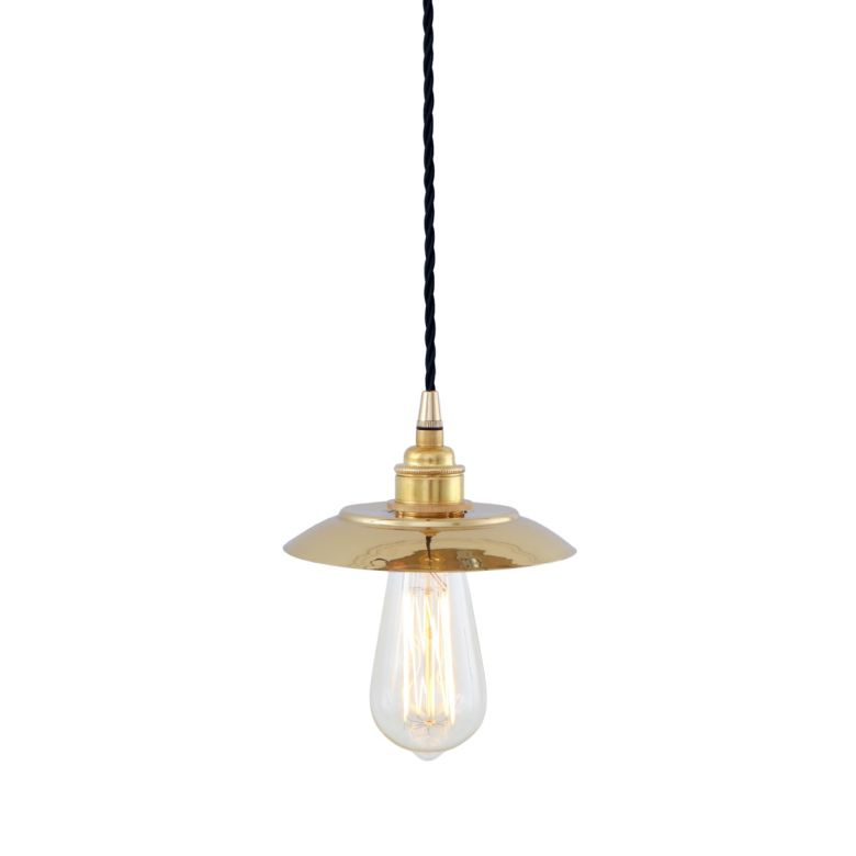Reznor Industrial Minimalist Brass Pendant Light, Polished Brass