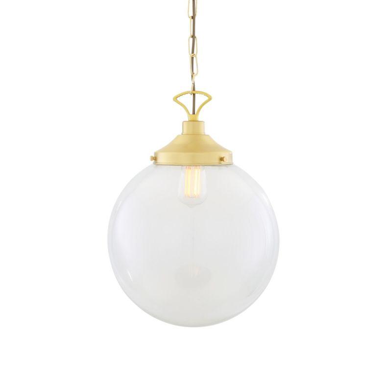 Riad Large Clear Glass Globe Pendant Light 35cm, Satin Brass