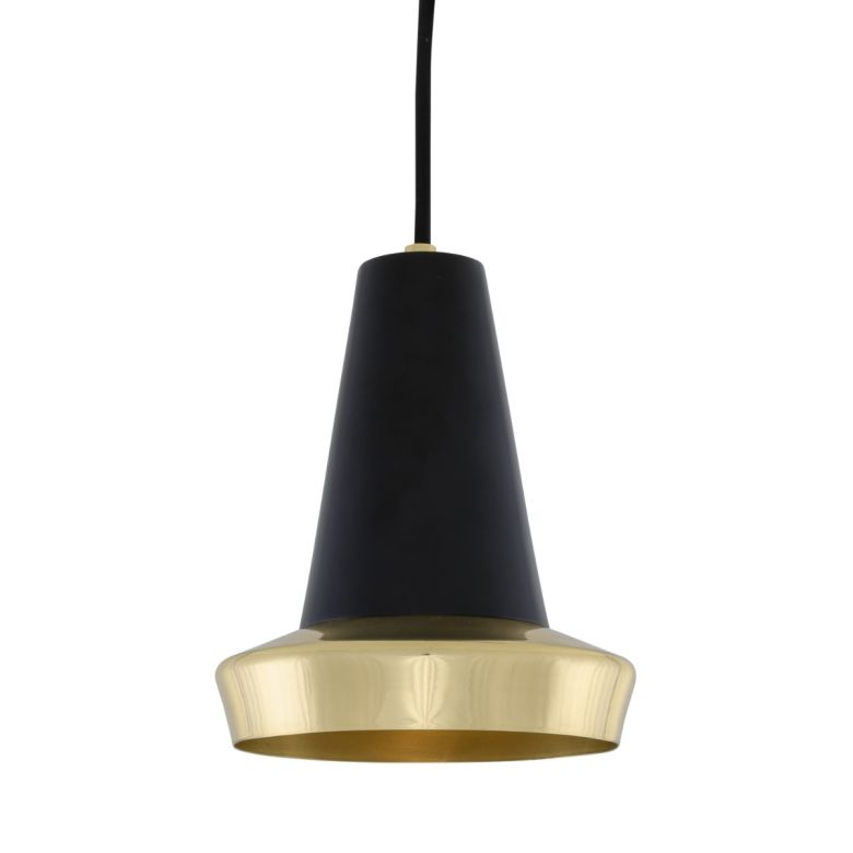 Malabo Polished Brass and Black Pendant Light 16cm