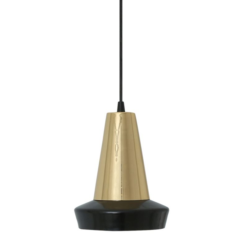 Malabo Black and Polished Brass Pendant Light 16cm