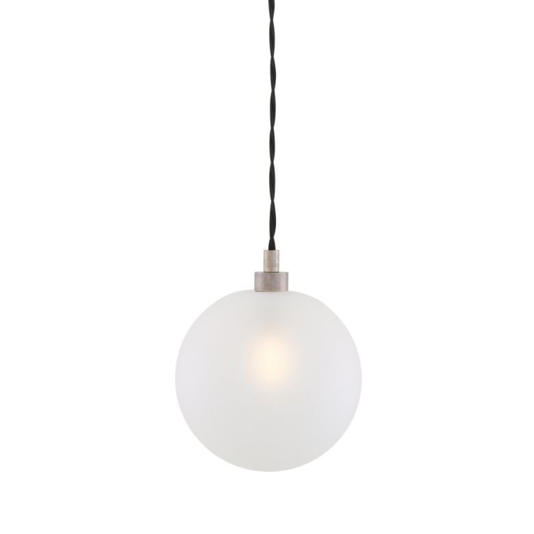 Madlin Frosted Glass Globe Pendant 15cm, Antique Silver