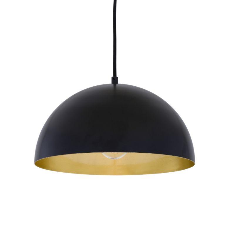 Avon Dome Pendant with Brass Interior 30cm, Matt Black and Satin Brass Inner