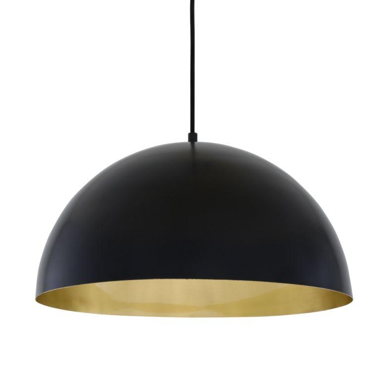 Avon Large Dome Pendant with Brass Interior 40cm, Matt Black and Satin Brass Inner