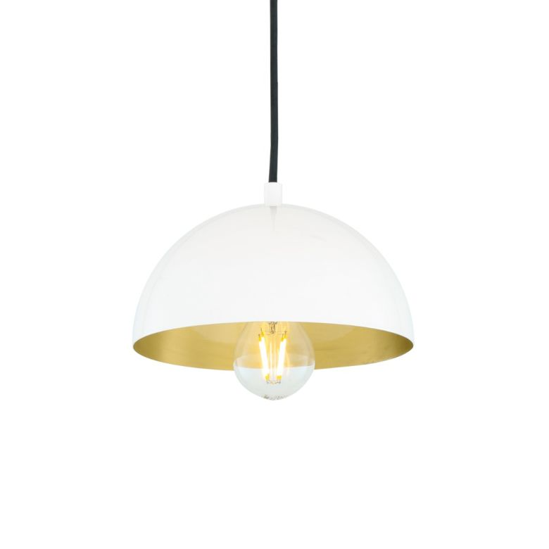 Avon Small Dome Pendant with Brass Interior 20cm, White and Satin Brass Inner