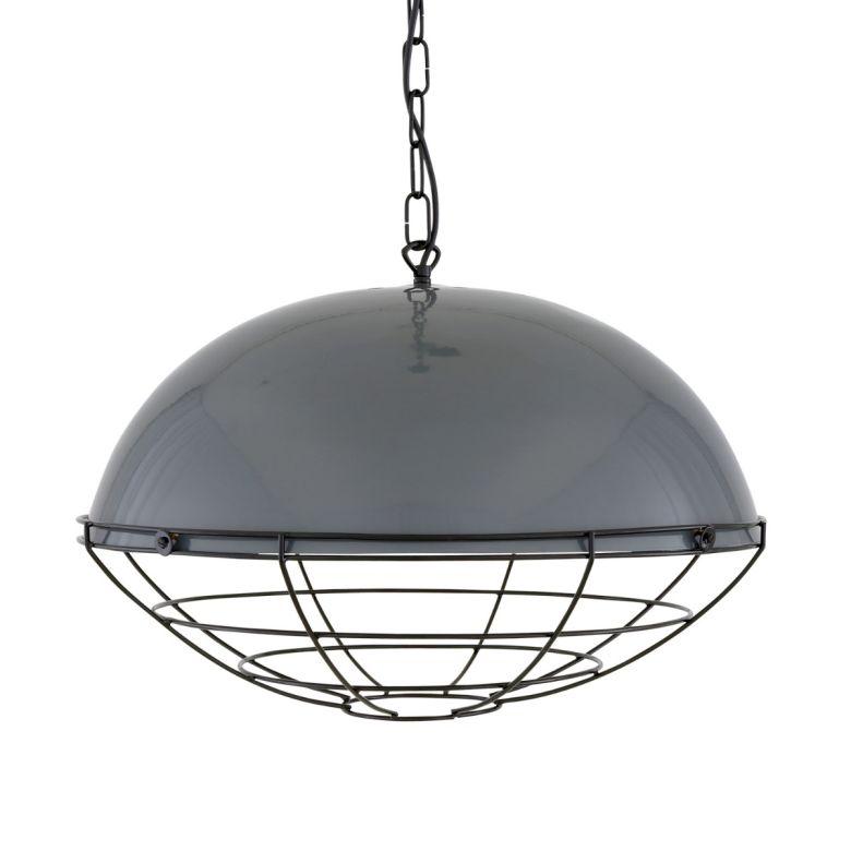 Austin Large Factory Pendant Light with Black Cage