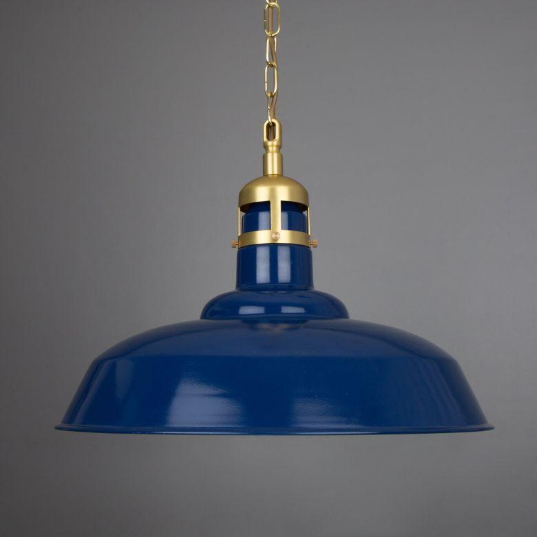 Matlock Large Vintage Factory Brass Pendant Light 50cm, Satin Brass, Sapphire Blue