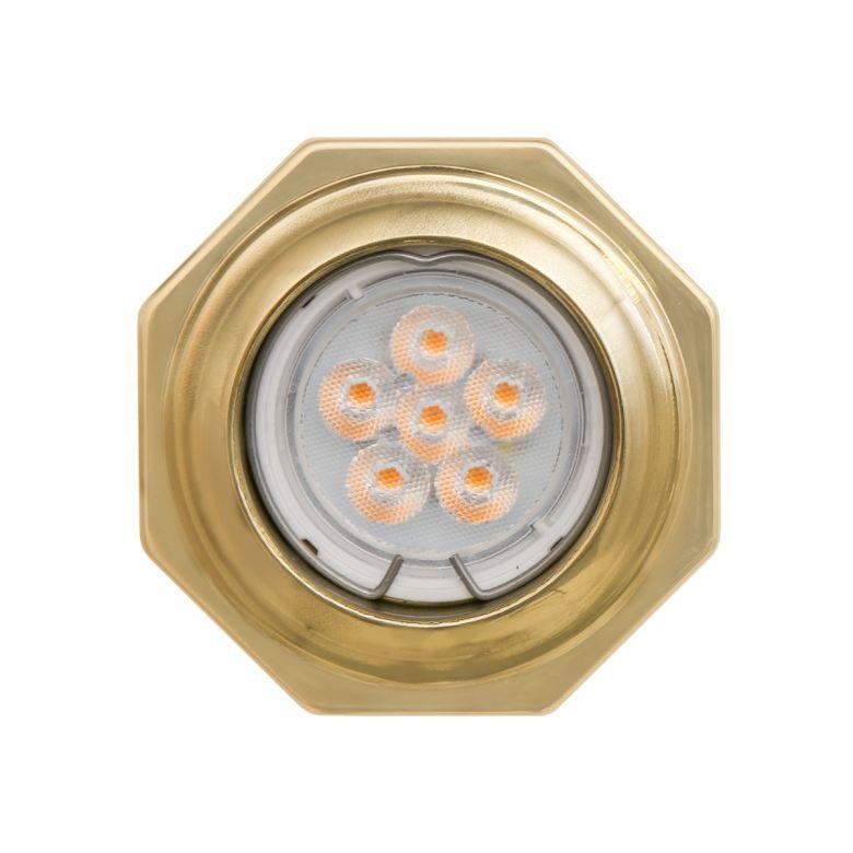 Palmanova Octagon Brass Recessed Spotlight 8.5cm, Polished Brass